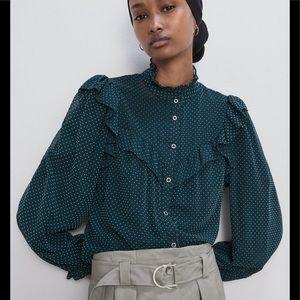 Zara green ruffled polka dots blouse
